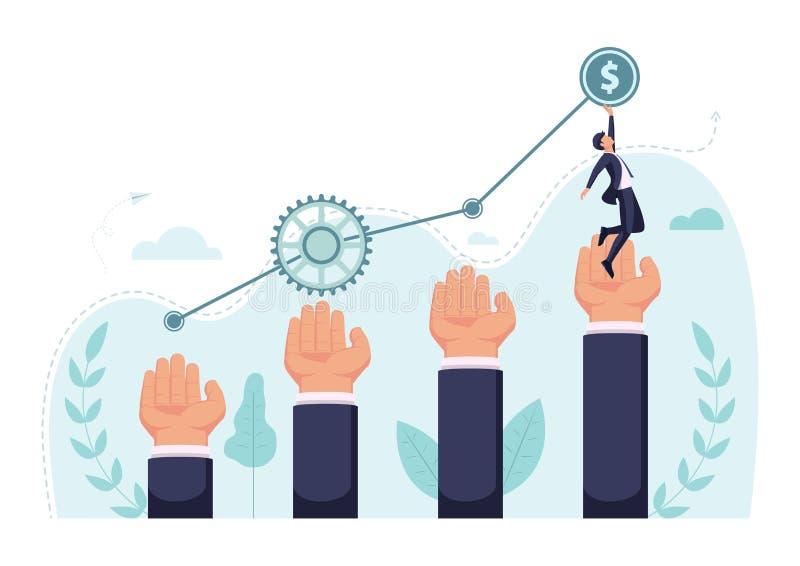 O homem de negócios isométrico intensifica na mão gigante a alcançar a parte superior do gráfico ilustração do vetor