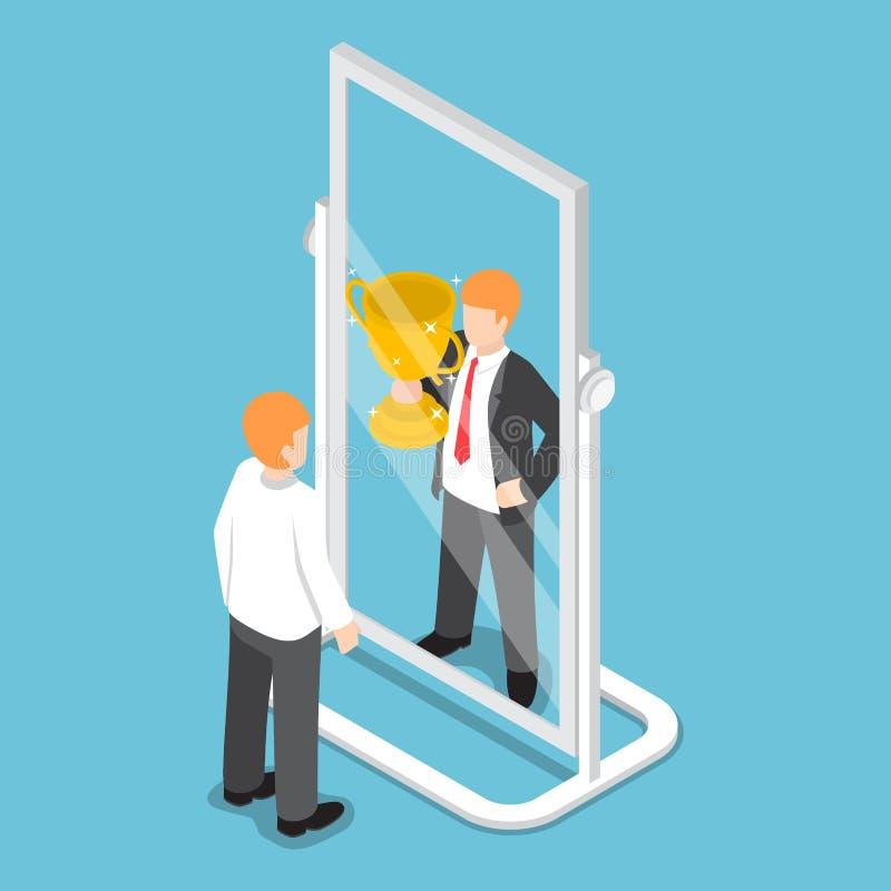 O homem de negócios isométrico vê-se ser bem sucedido no espelho ilustração do vetor