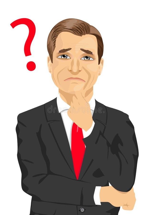 O homem de negócios maduro tem um sinal do ponto de interrogação em pensar algo ou em encontrar a maneira ilustração royalty free