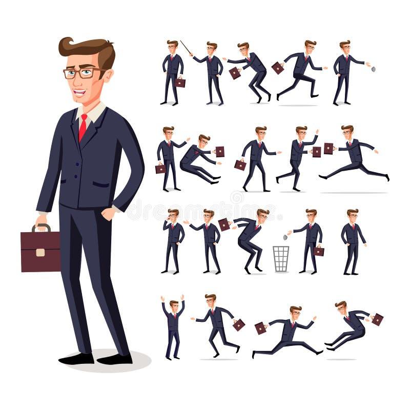O homem de negócios masculino no terno escuro e o laço vermelho no trabalho em várias poses isolado no fundo branco vector a arte ilustração do vetor