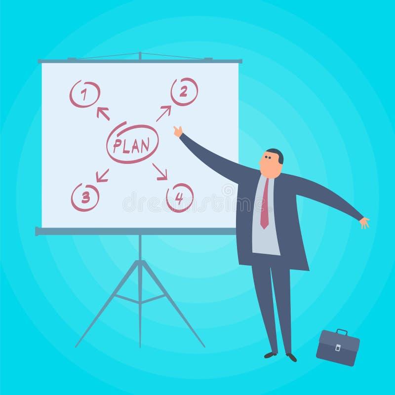 O homem de negócios mostra o plano de negócios Conceito da estratégia empresarial liso ilustração do vetor