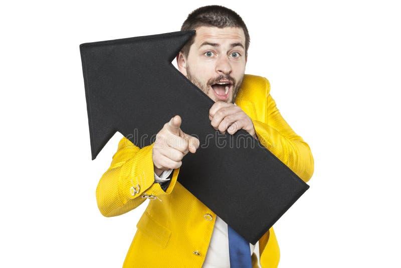 O homem de negócios mostra seu lucro possível imagens de stock