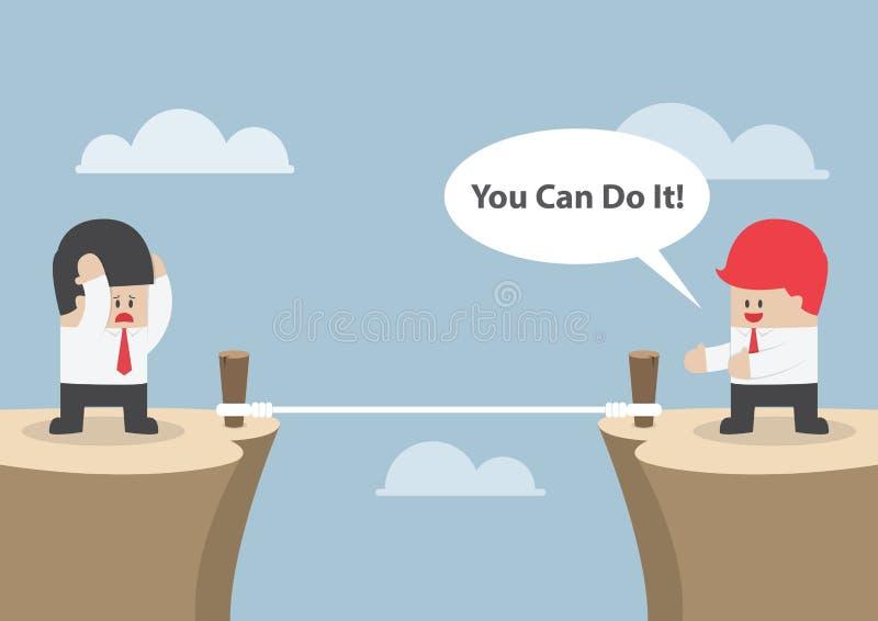 O homem de negócios motiva seu amigo para cruzar o penhasco dizendo ilustração royalty free