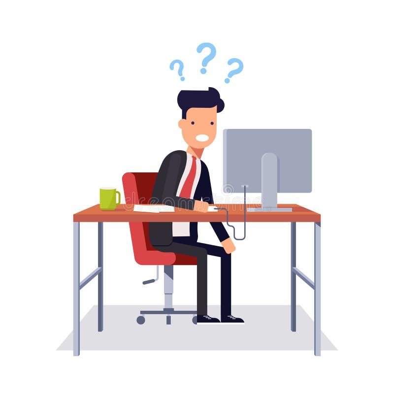 O homem de negócios não compreende o que estava acontecendo Homem em um terno de negócio que senta-se em uma cadeira ilustração royalty free