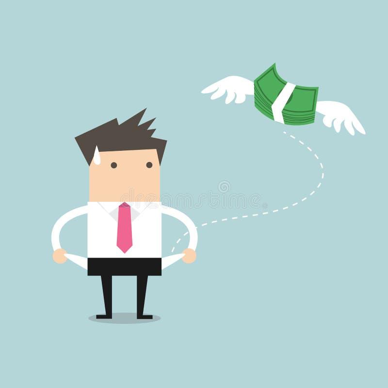 O homem de negócios não tem nenhum dinheiro ilustração stock
