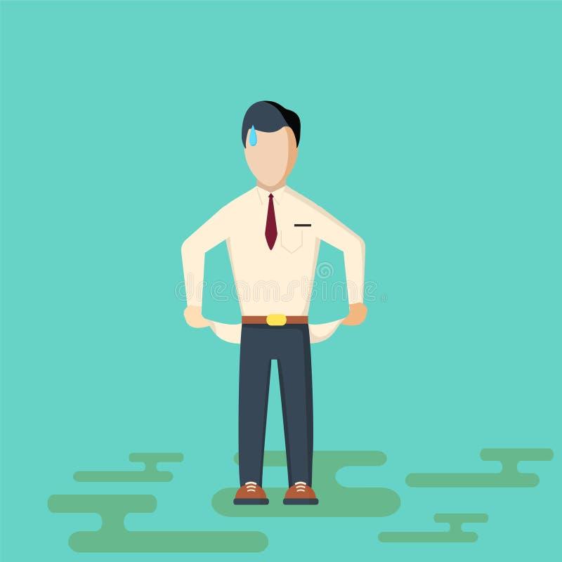 O homem de negócios não tem nenhum dinheiro ilustração do vetor