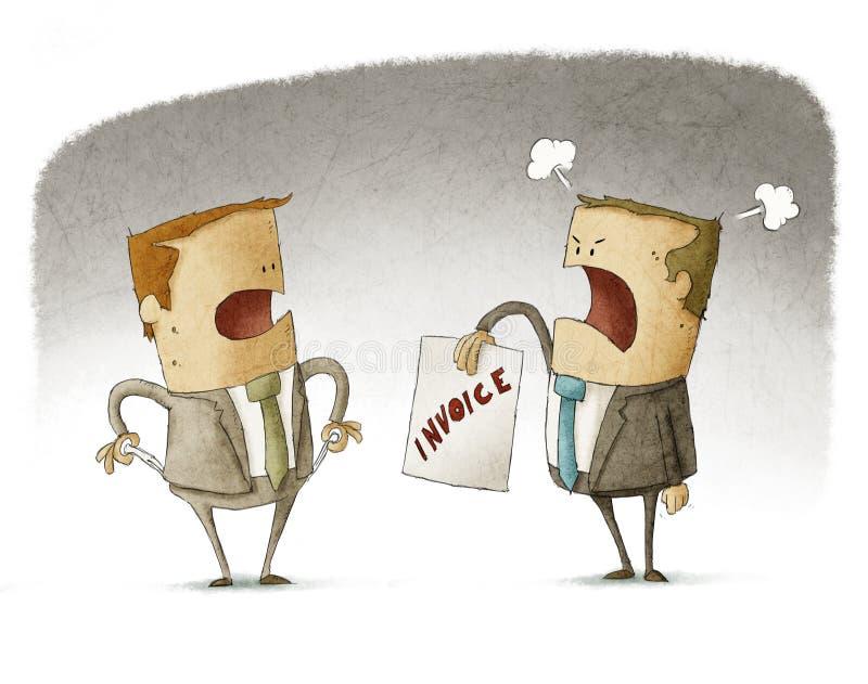 O homem de negócios não tem nenhum dinheiro a pagar ilustração stock