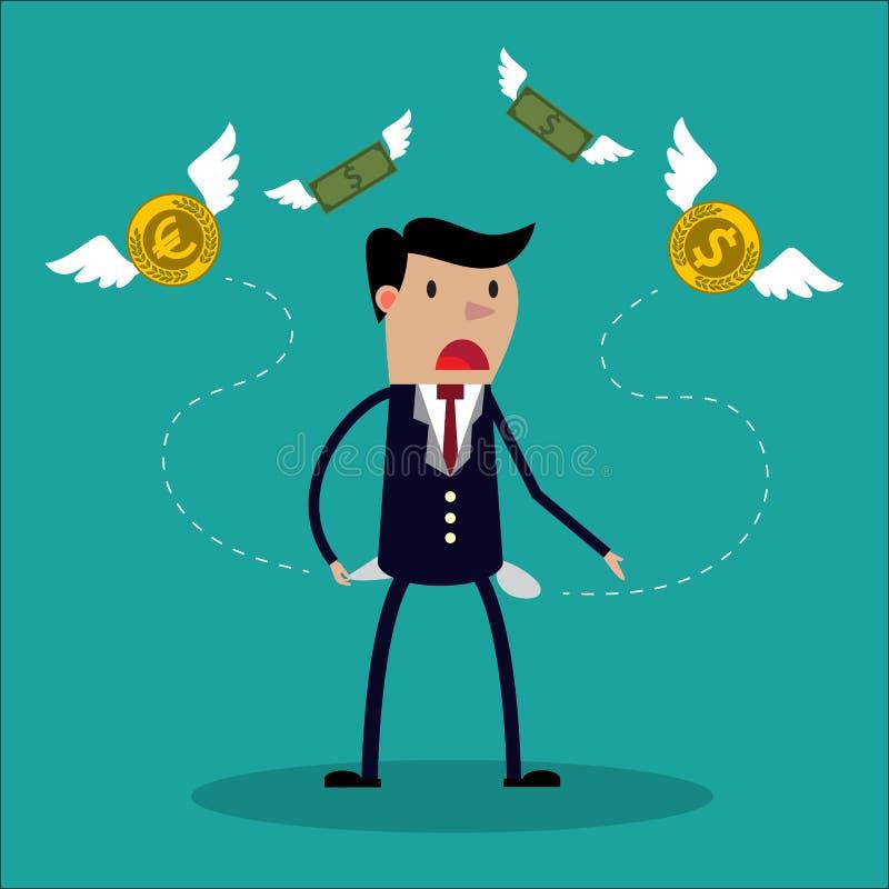 O homem de negócios não tem nenhum dinheiro - um homem à procura do dinheiro ilustração do vetor