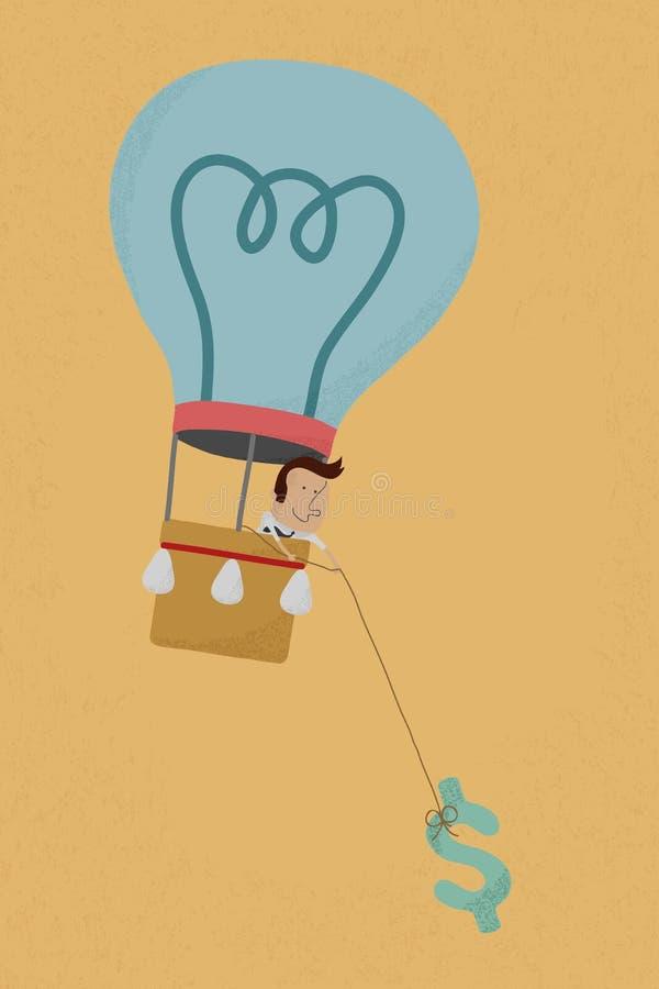 O homem de negócios na ideia do balão recolhe o dinheiro ilustração royalty free