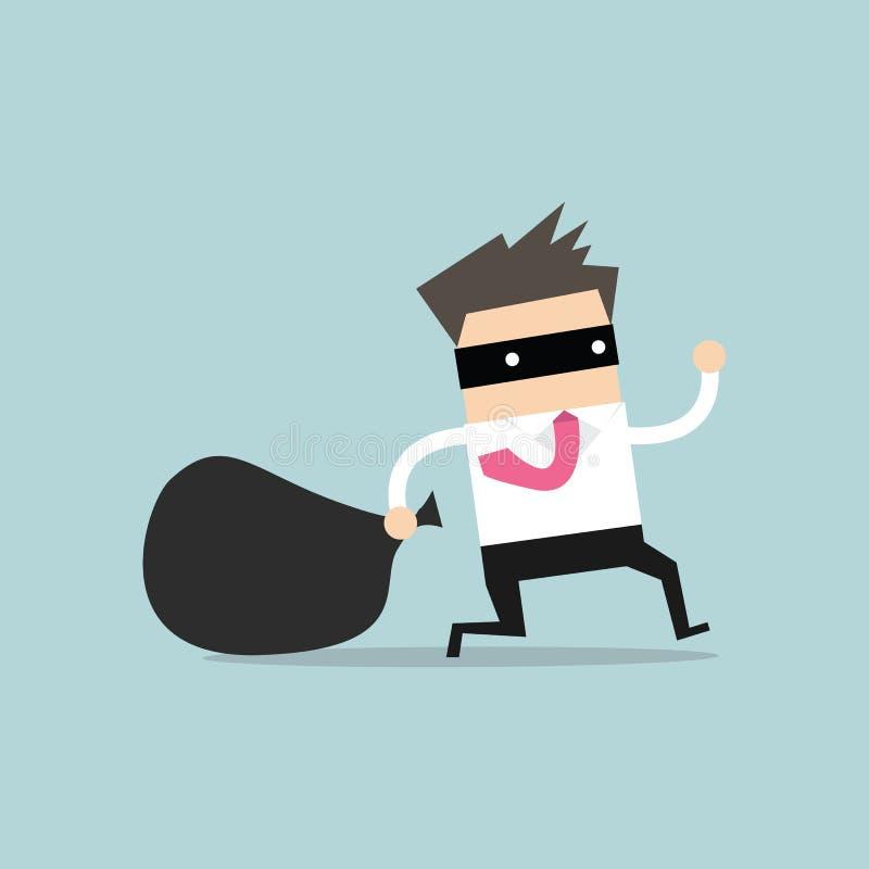 O homem de negócios na máscara do assaltante foge com saco roubado ilustração royalty free