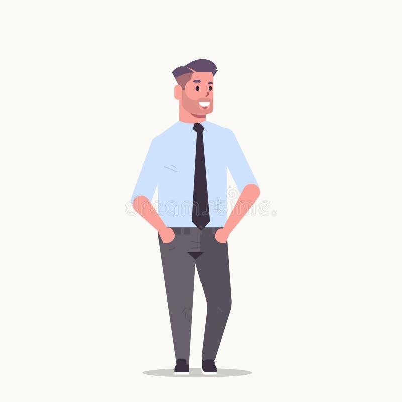 O homem de negócios na posição do vestuário formal levanta o trabalhador de escritório masculino de sorriso do homem de negócio d ilustração royalty free