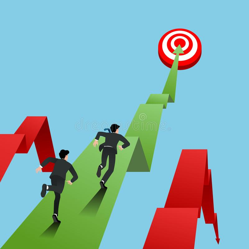 O homem de negócios na raça do terno, correndo para ir visar para o sucesso na parte superior do gráfico, vitória na carreira, fa ilustração stock