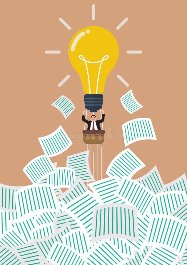O homem de negócios no balão da ampola obtém longe de muito original ilustração stock