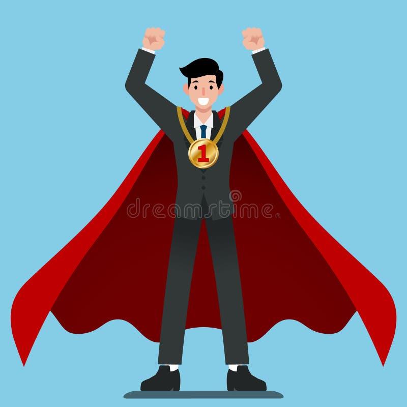 O homem de negócios no cabo vermelho obtém a número uma medalha de ouro ilustração stock
