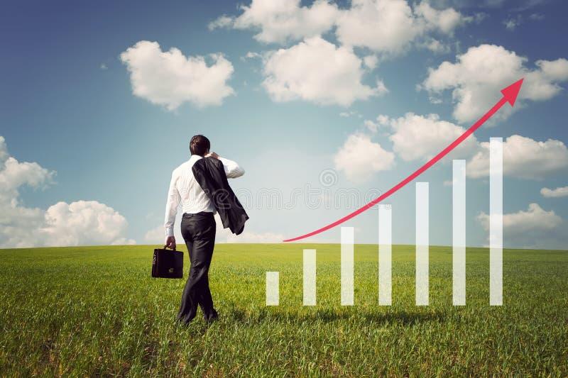 O homem de negócios no campo com grama verde e o céu azul aumenta sobre foto de stock royalty free