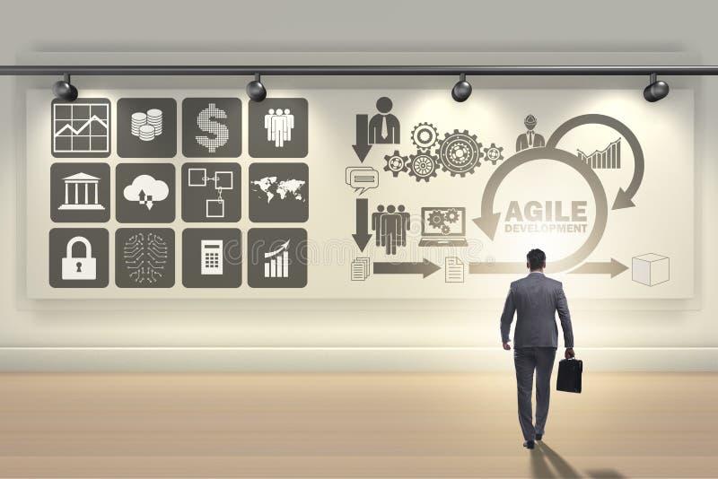 O homem de negócios no conceito ágil da programação de software imagens de stock royalty free