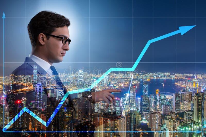 O homem de negócios no conceito da compra e venda de ações ilustração do vetor
