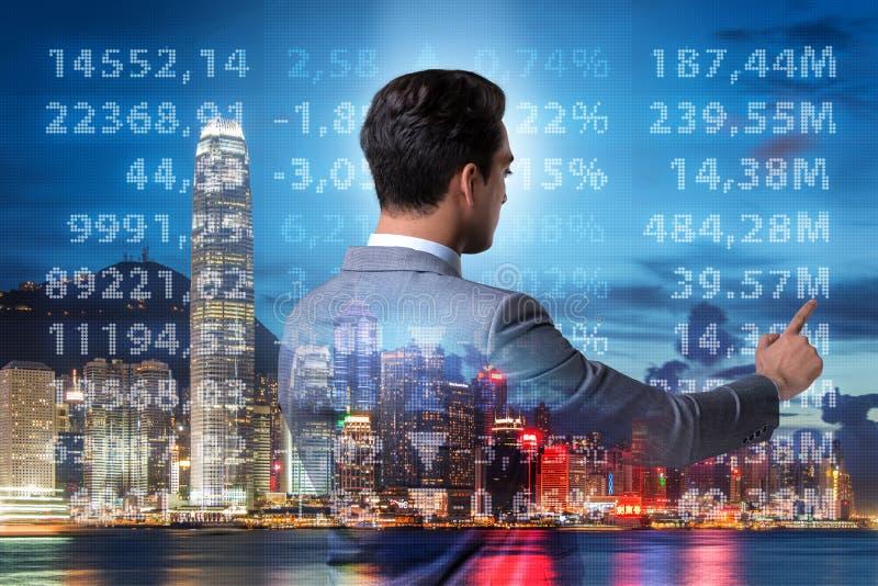O homem de negócios no conceito da compra e venda de ações ilustração stock