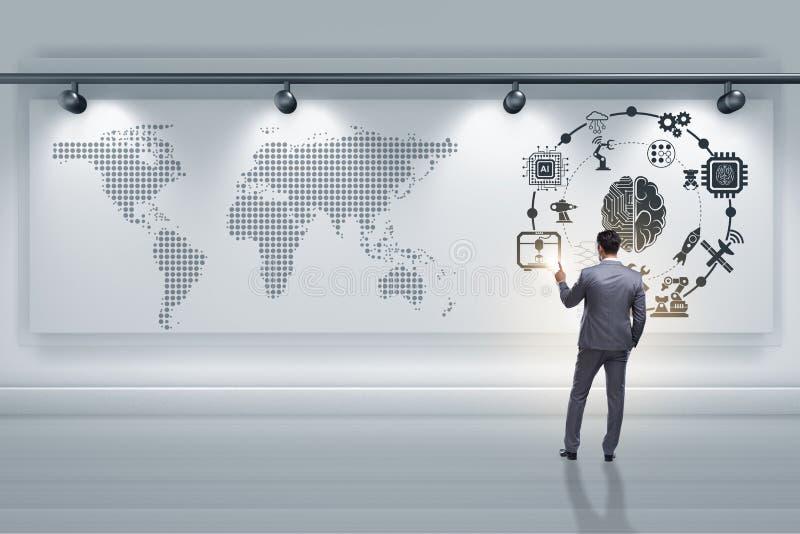 O homem de negócios no conceito da inteligência artificial fotografia de stock