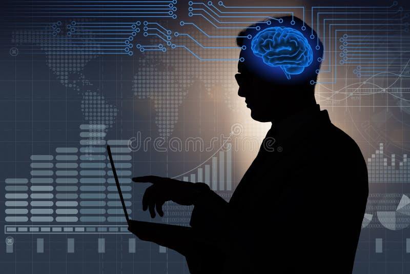 O homem de negócios no conceito da inteligência artificial fotografia de stock royalty free
