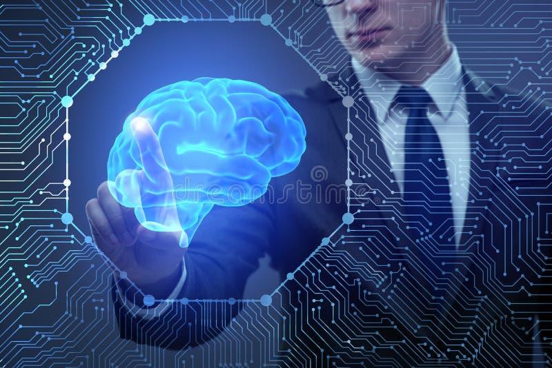 O homem de negócios no conceito da inteligência artificial foto de stock royalty free