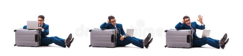 O homem de negócios no conceito da viagem de negócios isolado no branco foto de stock royalty free