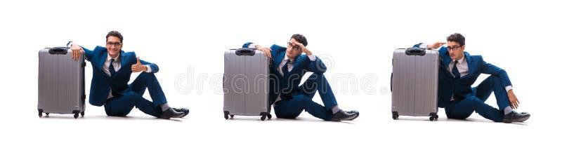 O homem de negócios no conceito da viagem de negócios isolado no branco imagens de stock royalty free