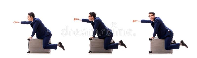 O homem de negócios no conceito da viagem de negócios isolado no branco imagens de stock
