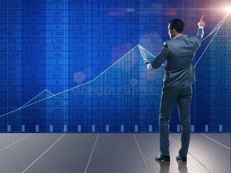 O homem de negócios no conceito de troca da bolsa de valores ilustração stock