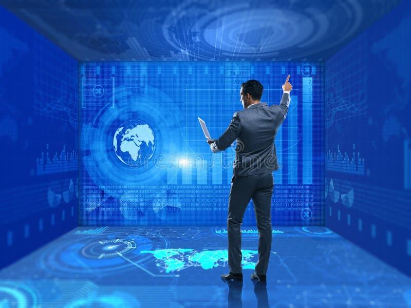 O homem de negócios no conceito de troca da bolsa de valores ilustração royalty free
