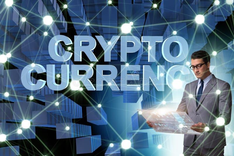 O homem de negócios no conceito do cryptocurrency do blockchain fotos de stock royalty free