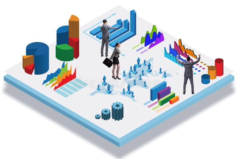 O homem de negócios no conceito do infographics do negócio ilustração royalty free