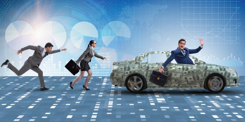 O homem de negócios no conceito do negócio com carro do dólar fotos de stock royalty free