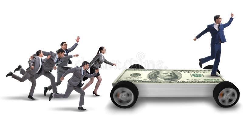 O homem de negócios no conceito do negócio com carro do dólar imagem de stock royalty free