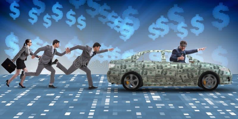 O homem de negócios no conceito do negócio com carro do dólar foto de stock royalty free