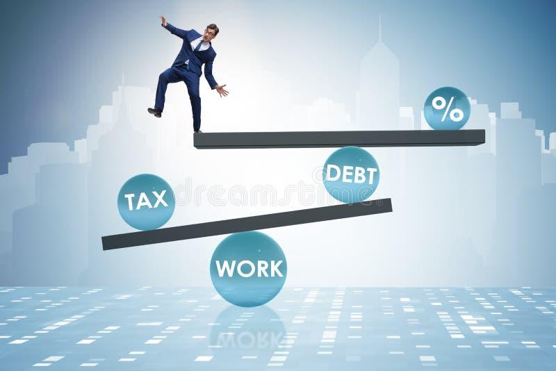 O homem de negócios no conceito do negócio do débito e do imposto ilustração do vetor