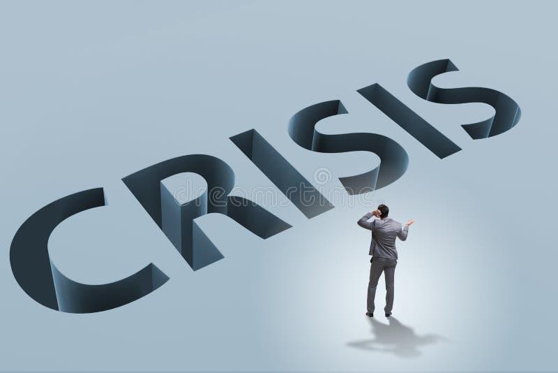 O homem de negócios no conceito do negócio da crise financeira imagem de stock