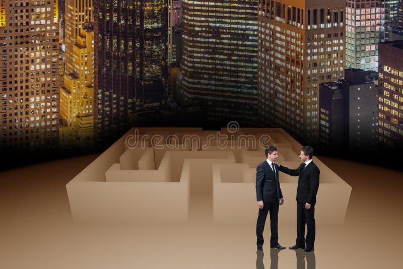 O homem de negócios no conceito do negócio do labirinto imagem de stock royalty free
