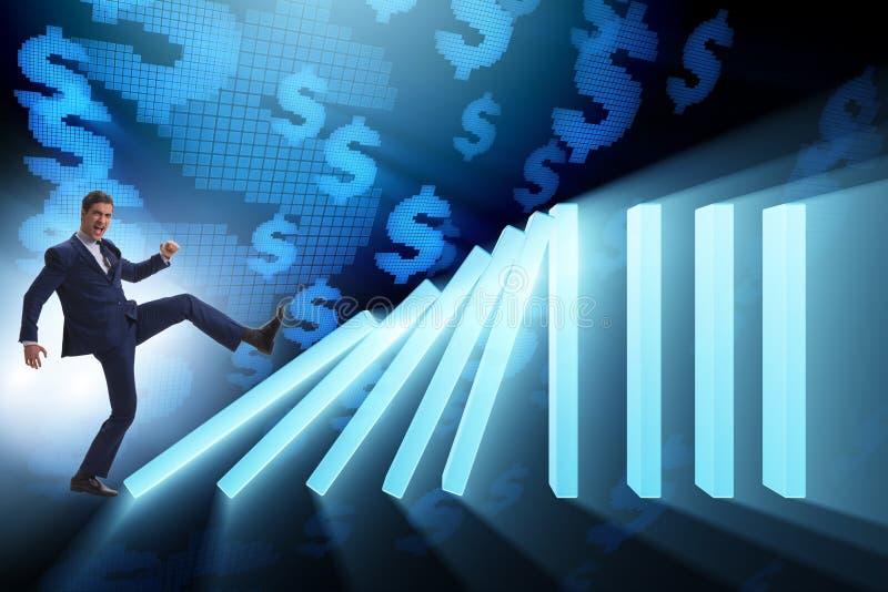 O homem de negócios no conceito do negócio do efeito de dominó imagem de stock