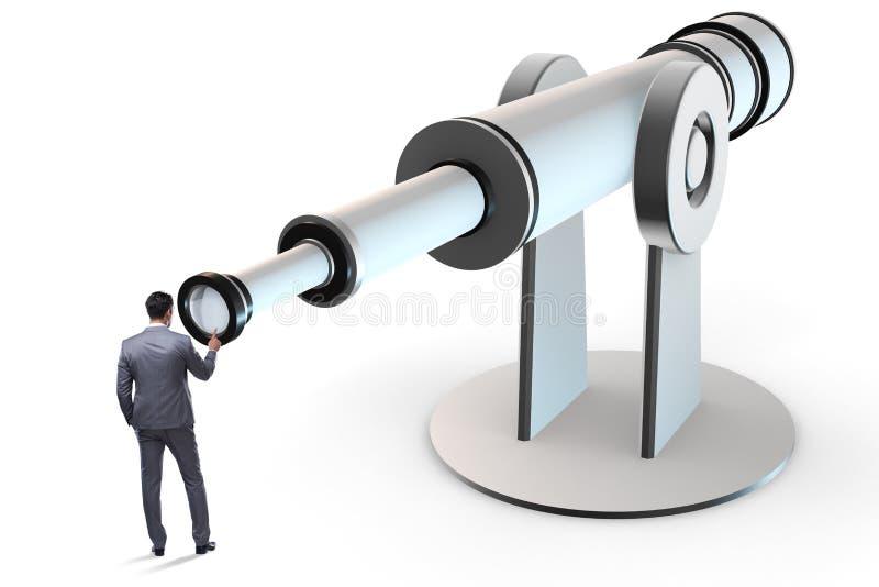 O homem de negócios no conceito do negócio do planeamento financeiro foto de stock royalty free
