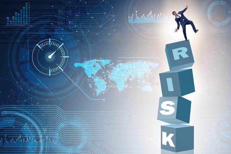 O homem de negócios no conceito do negócio do risco e da recompensa ilustração stock