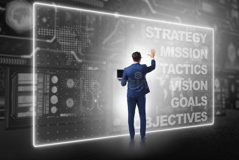O homem de negócios no conceito do planejamento estratégico foto de stock
