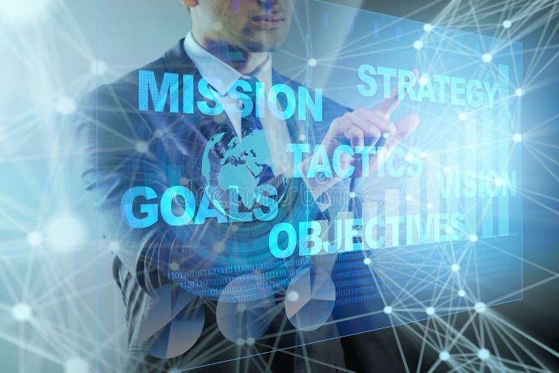 O homem de negócios no conceito do planejamento estratégico imagens de stock