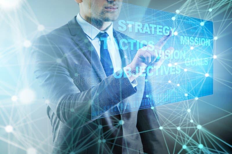 O homem de negócios no conceito do planejamento estratégico fotos de stock