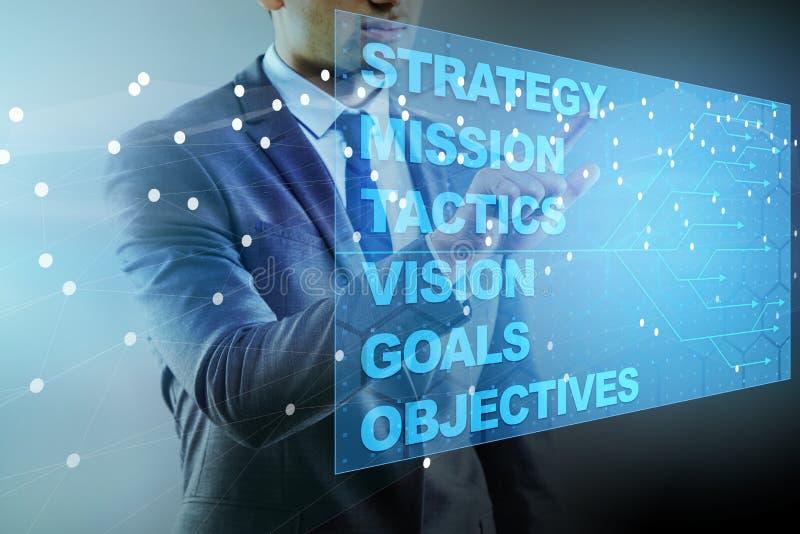 O homem de negócios no conceito do planejamento estratégico fotos de stock royalty free