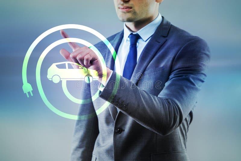 O homem de negócios no conceito eclético do veículo ilustração stock