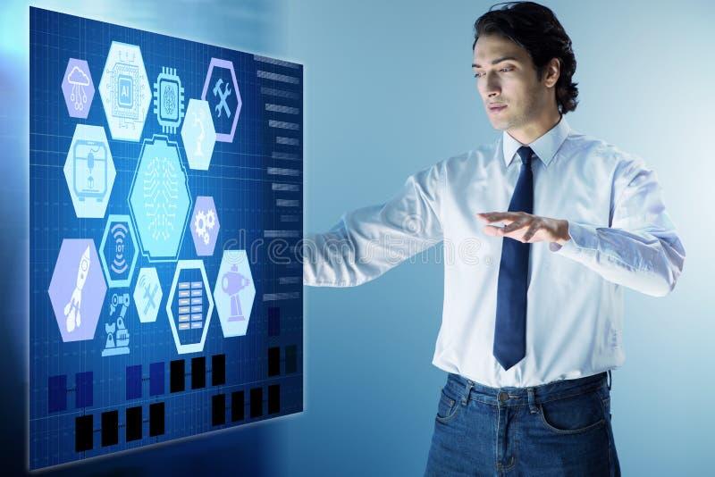O homem de negócios no conceito futurista da compra e venda de ações ilustração stock