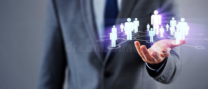 O homem de negócios no conceito social das redes foto de stock royalty free