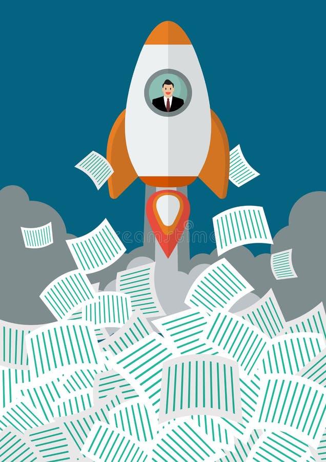 O homem de negócios no foguete obtém longe de muitos originais ilustração stock