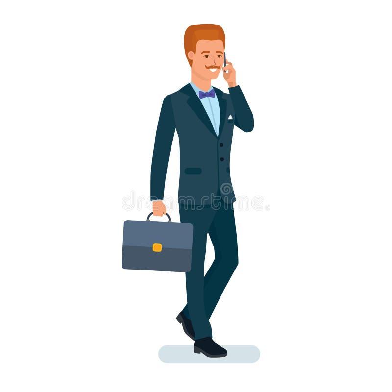 O homem de negócios, no terno de negócio que está com pasta, telefona à disposição ilustração royalty free